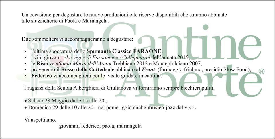 Cantine Aperte 2016 in Abruzzo il 28 e 29 maggio: tutti i programmi