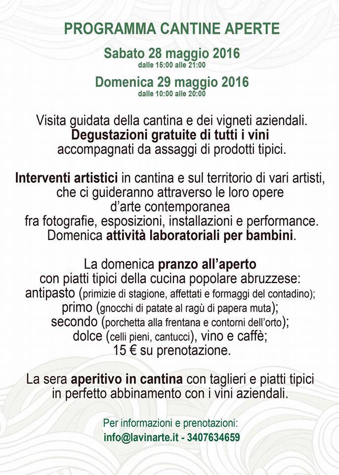 Cantine Aperte 2016 in Abruzzo il 28 e 29 maggio: tutti i programmi 1