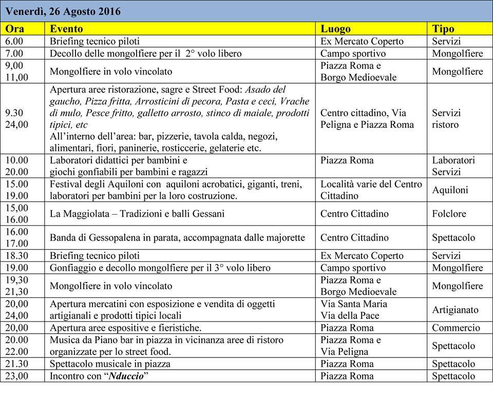 Mongolfiere nella Majella Orientale a Gessopalena dal 25 al 28 agosto 2016 1