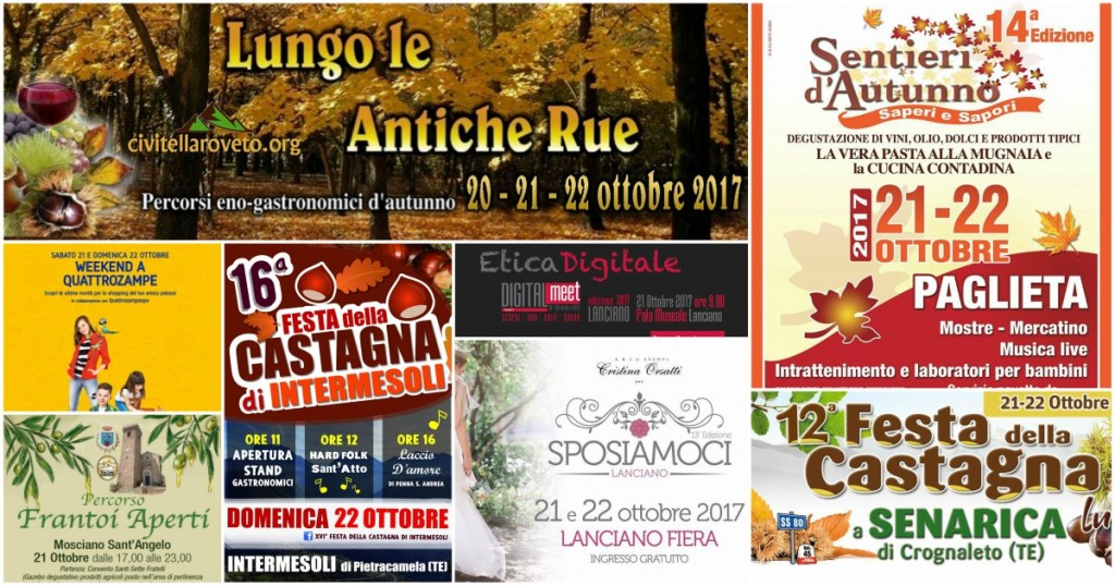 Eventi in Abruzzo dal 20 al 22 ottobre 2017